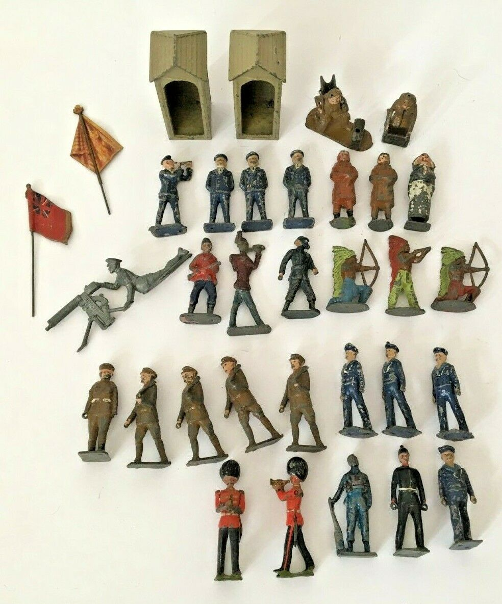Job Lot Collection of Lead Soldiers, Nurse, Red Red Red Indian, Tin Sentry Huts, Flags 325