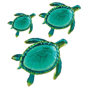 Image is loading Sea-Turtle-Wall-Art-Decor-3-Pack-Large-  sc 1 st  eBay & Sea Turtle Wall Art Decor 3 Pack Large Metal Glass Sculpture In Out ...