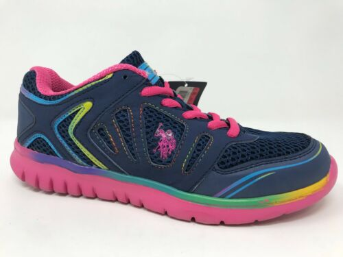 Girls Youth U.S Polo Assn *New NW0580 Athletic Shoes Navy//Pink C49