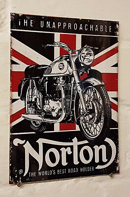 norton motorbike union jack Retro metal Aluminium Sign vintage.