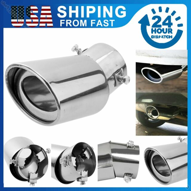 Boloromo 8668 Single Exhaust Performance Universal Sport Tail Tip Car Muffler Trim End Pipe Stainless Steel Chrome