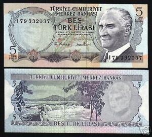 TURKEY 10 LIRA P193 1970 ATATURK MEDALLION FLOWER UNC TURKISH MONEY BANK NOTE