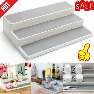 1X-White-3-Tier-Shelf-Jar-Rack-Holder-Cupboard-Organiser-Storage-Kitchen-O6S9