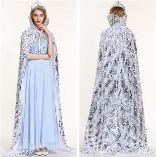 """Argent 71/"""" Long manteau manteau échelles-Sequin Satin Cape Beauty Pageant Party Costume"""