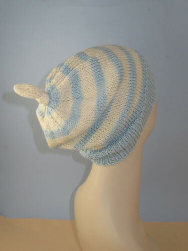 PRINTED KNITTING INSTRUCTIONS-SIMPLE STRIPE TOPKNOT SLOUCH HAT KNITTING PATTERN