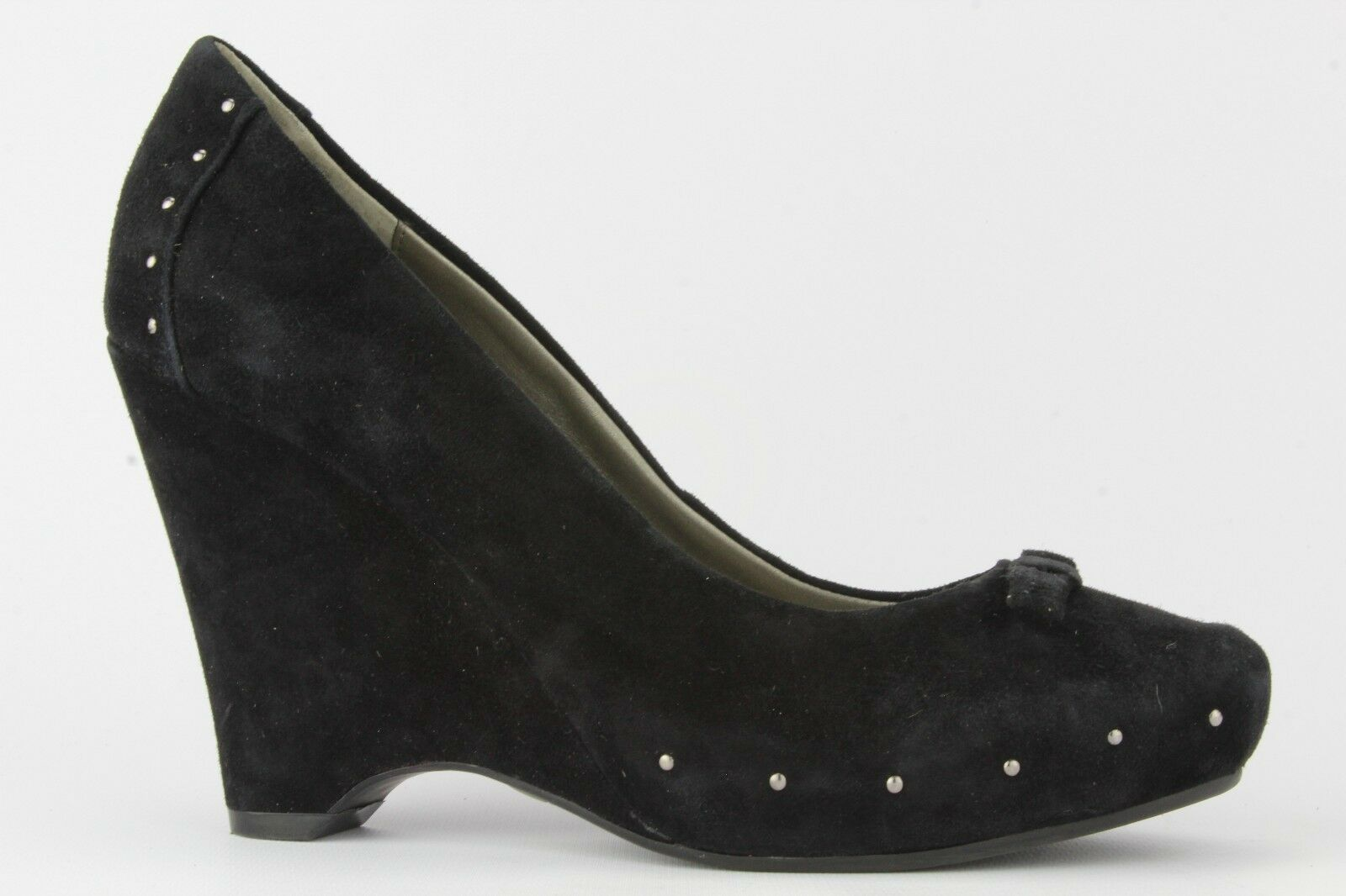 Me Too Women's Black Suede Wedge With Stud Detail Size 7M