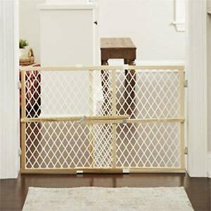 Baby Safety Gate Door Walk Thru Extra Wide Construction Pet Fence Wood Dog Gate