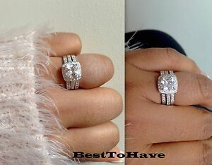 image is loading 925 silver ladies 3 piece wedding engagement cushion - Halo Wedding Ring Set