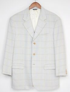 Mansouriveste 3 en Glen en et à crème Plaid à boutons Manteau et Italie laine 42r à 2 fentes soie carreaux sport RjSc354ALq
