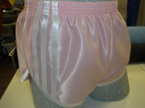 White Retro Nylon Satin Sprinter Shorts S to 4XL Pink