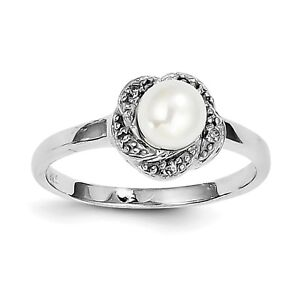 Methodical 925 Silver Rhodium 6mm Fw Cultured Button Pearl & Diamond Ring Qdx854 Size 6-8 For Improving Blood Circulation Jewelry & Watches