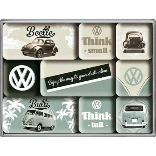 VW Volkswagen Think Magnet Set 9 tlg. Poly Box Nostalgie Set NEU