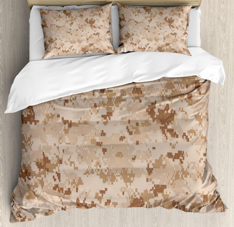 Marronee Duvet Cover Set with Pillow Shams Desert Marpat Camo Motif Print