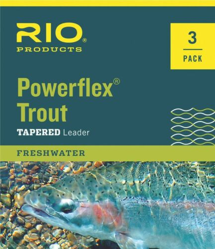 NEW RIO POWERFLEX 9FT 4X TROUT TAPERED LEADERS 3 PACK fly fishing loop mono