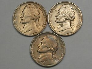 Details about 3 Better-Grade 1938 (All 3 Mints) US Jefferson Nickels: 1938,  1938-d & 1938-s