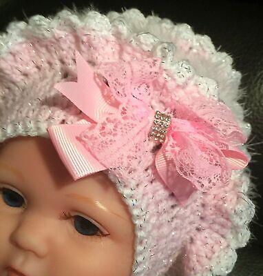 Handmade baby girls bonnet ribbon trim 0-18mths Spanish style White