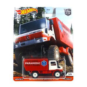 Hot-Wheels-FPY86-GJP90-Mercedes-Unimog-U1300-034-Paramedic-034-Car-Culture-1-64-NEU