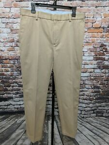 Jos-A-Bank-Signature-Collection-Flat-Front-Khaki-Beige-Mens-Pants-Size-W34-L32