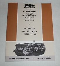 Ferguson A Bo 22 A Bo 32 3 Point Lift Type Tandem Disc Harrow Operators Manual