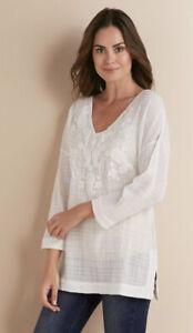 Soft Surroundings Style 2AC75 White 100% Cotton Manhantan Beach Top Women's S