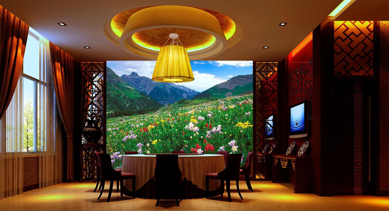 Papel Pintado Pintado Papel Mural De Vellón Coloridas Flores Montañas 2 Paisaje Fondo Pantalla a4d2c3
