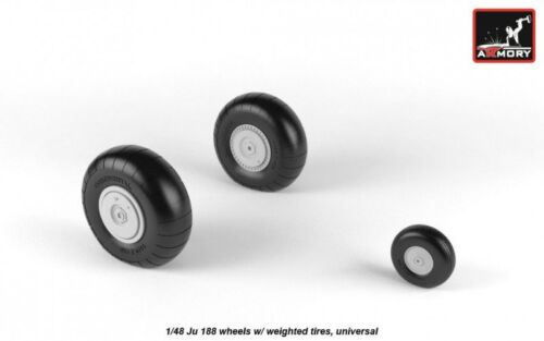 universal Armory 48203 Junkers Ju 188 wheels w// weighted tires Resin Kits 1//48