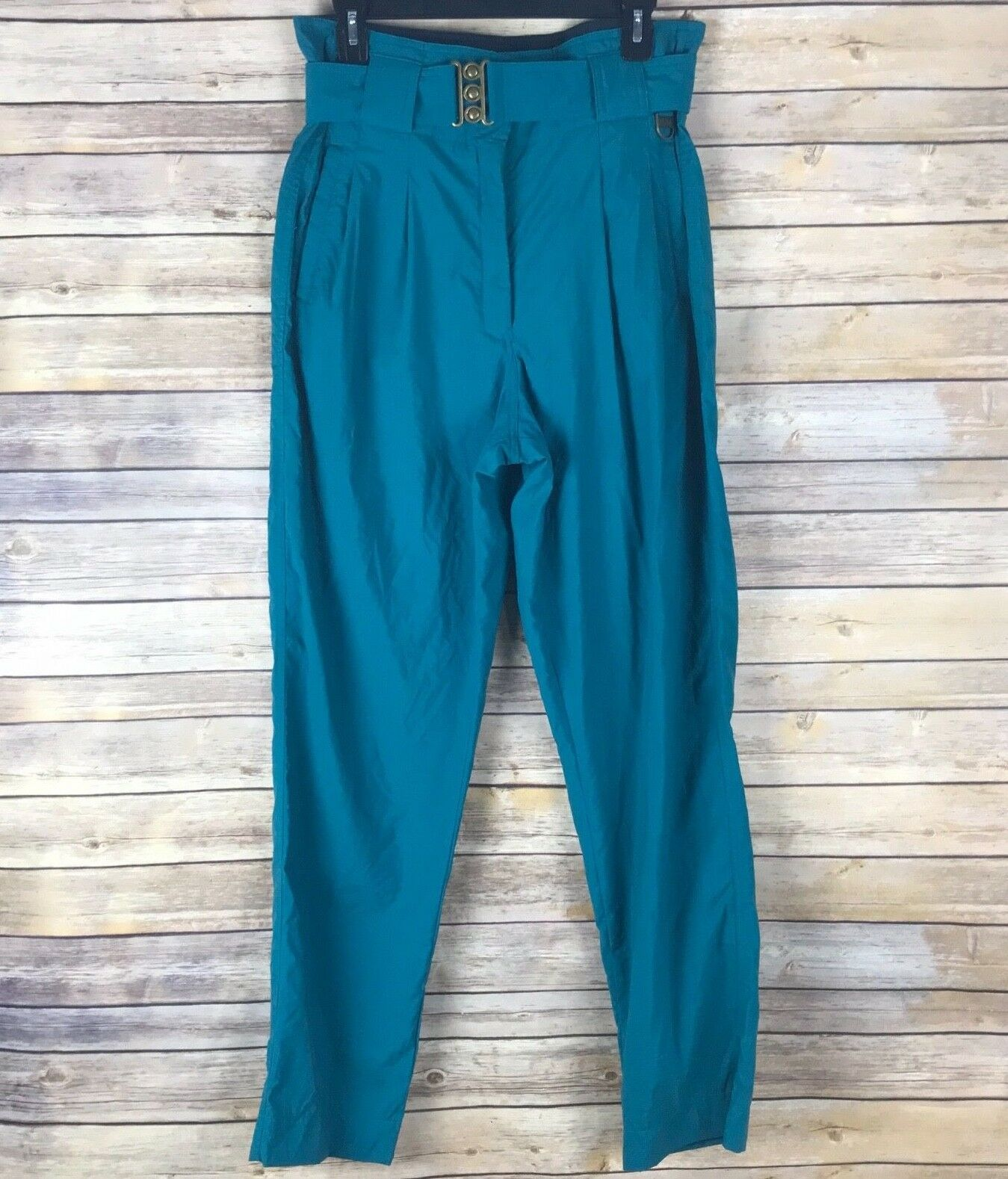 Skyr Women Vintage Snow Pants Pleated Front High Waist Belted Tapered Leg 12