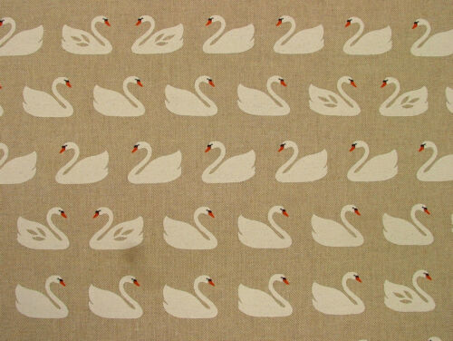 """Curtain Upholstery Quilting Crafts Blinds /""""Swans/"""" On Natural Linen Look Fabric"""