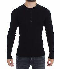 NWT $780 DOLCE & GABBANA Black Silk Henley Button Sweater Pullover Top IT52 / L