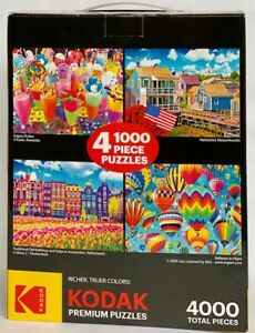 NEW & SEALED! 4 Kodak Premium 1000-Piece Colorful Puzzles = 4000 Total Pieces!