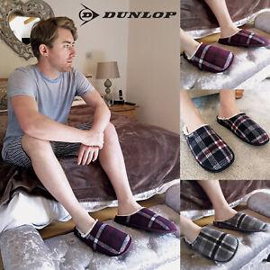 DUNLOP-Uomo-Invernali-Calde-Termiche-Pantofole-con-Classiche-Quadri-per-Casa