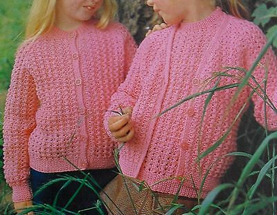 Girls LACY SCALLOP CARDIGAN KNITTING PATTERN Mohair DK 20-30in 1-11yrs 4859