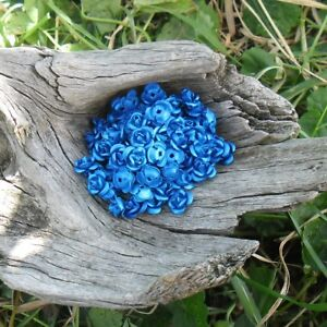 90 Perles Fleurs / Roses Métal Aluminium 6 Mm (bleu Indigo) à Tout Prix