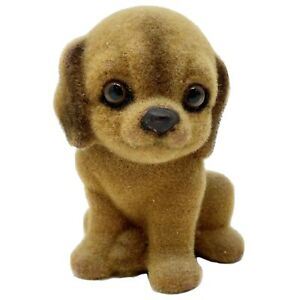 Vtg Cute Sad Eyes Puppy Dog Figurine Miniature Flocked-Fuzzy Figure Glass Eyes
