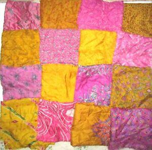 LOT-PURE-SILK-Vintage-Sari-Fabrics-REMNANT-16-pcs-8-034-SQUARES-Pink-Golden-CRAFT