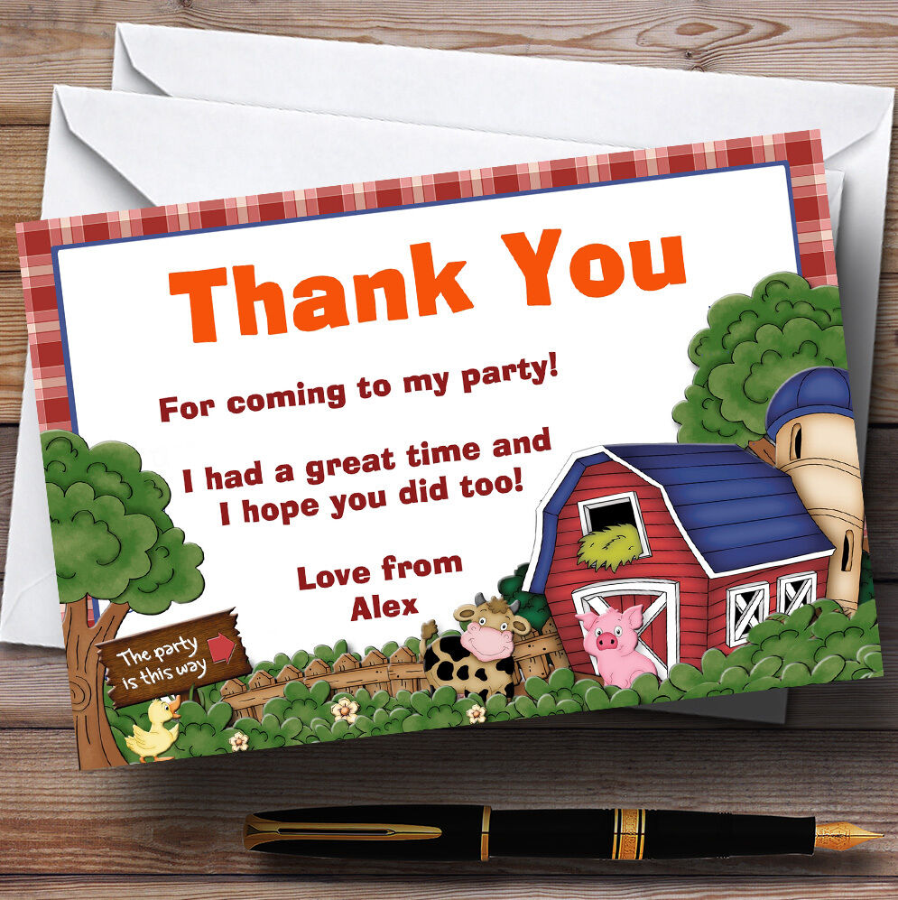 Farmyard Farm Animals Personalised Birthday Party Thank You Cards