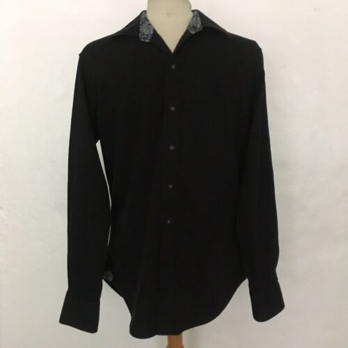Robert Graham Black Button Down Fitted Shirt Sz S