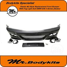 Front Bumper Primed M3 Look 4 Door With Fog Holes Bmw E46 1998-2004 Brand New