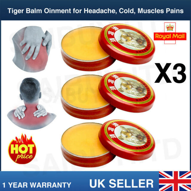 3 x TIGER BALM MENTHOL OINTMENT HEADACHE COLD BACK MUSCLE JOINT ACHE UK STOCK