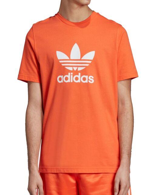 Adidas Mens Orange Size Medium M Trefoil Graphic Crewneck Shirt Tee $30 #917