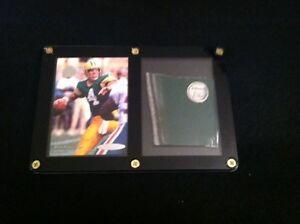 Brett-Favre-Card-amp-Green-Bay-Packers-GAME-USED-METAL-from-Lambeau-Field-Stadium