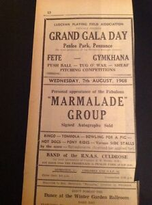 6211 1968 Advert Penzance Penlee Park Marmalade Pop Group Fair - <span itemprop=availableAtOrFrom>Leicester, United Kingdom</span> - Returns accepted Most purchases from business sellers are protected by the Consumer Contract Regulations 2013 which give you the right to cancel the purchase within 14 days after the da - Leicester, United Kingdom
