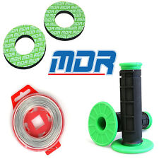 MDR Motocross Grip Combo Kit Kawasaki Green Grips, Grip wire, Grip Donuts
