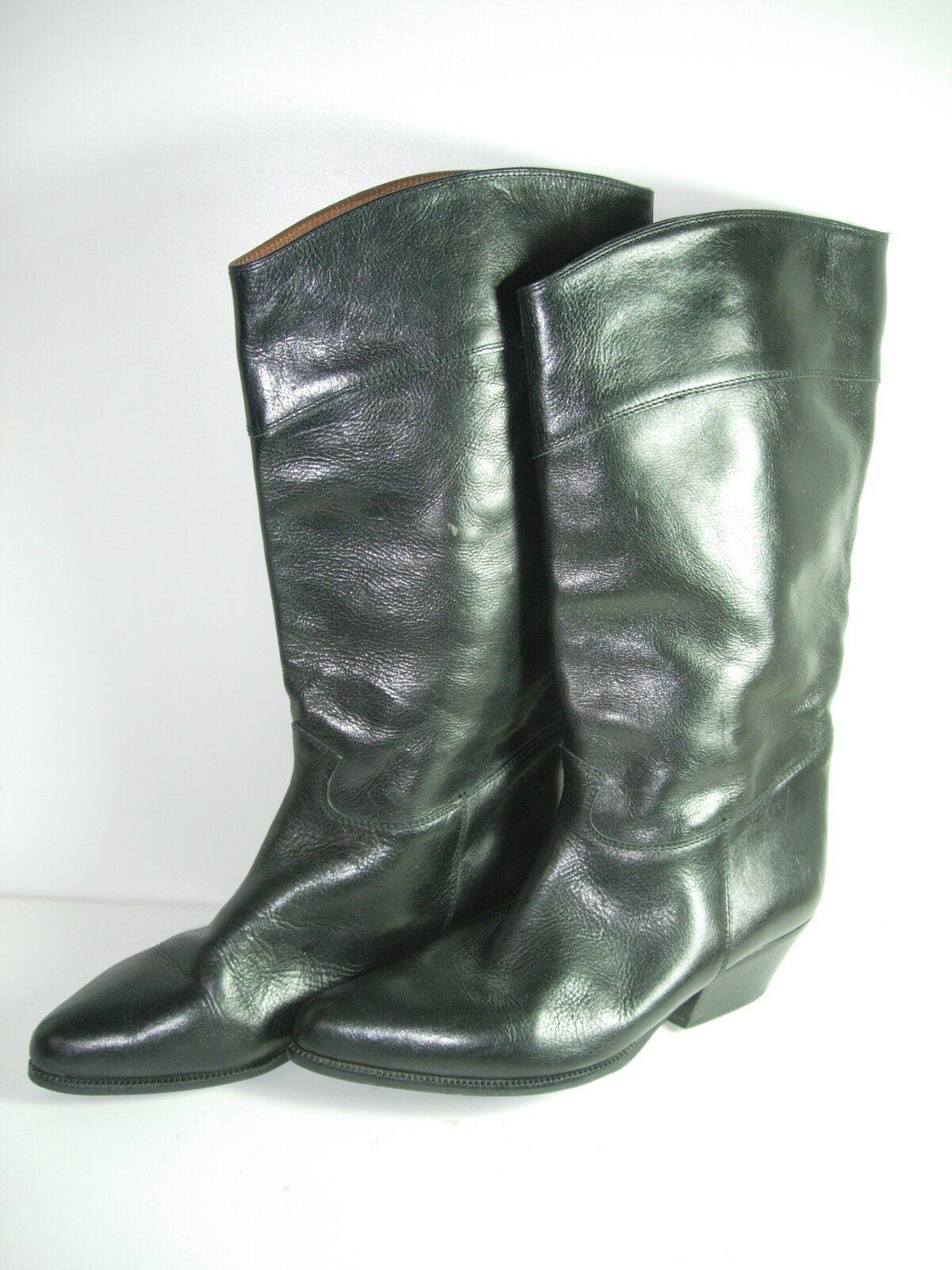 WOMEns nero leather WESTERN COWBOY CALF ALTI  avvio HEELS SHOHE Dimensione 9.5 M  la migliore moda