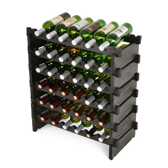 36 Bottles Wood Wine Rack 6 Tiers x 6 Standard Bottles Freestanding Storage