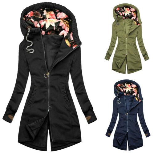 UK Womens Long Sleeve Casual Outwear Jacket Ladies Zip Up Hoodies Jumper Coat