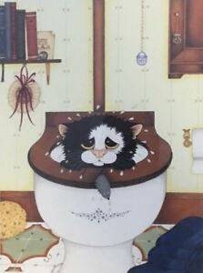 Linda-Jane-Smith-DOWN-THE-PAN-Kittens-Cats-Feline-Collectable-Funny-Art