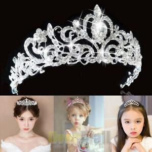 Bridal Crystal Hair Tiara Wedding Crown Veil Headband lady girls Silver C
