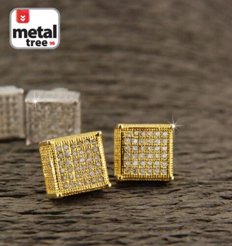 Men/'s Hip Hop 925 Silver 9mm 3D Square Block Side Stone Screw Back Stud Earrings
