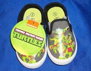 Child-039-s-Teenage-Mutant-Ninja-Turtles-Slip-On-Textile-Tennis-Shoe-Size-6